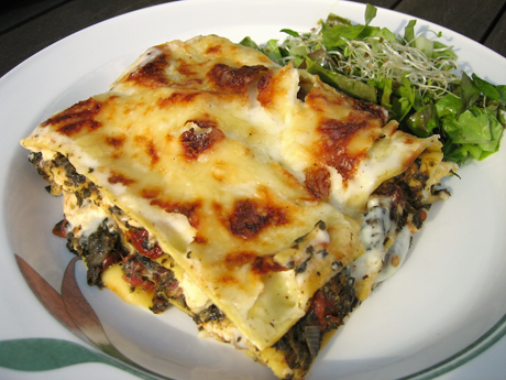 god vegetarisk lasagne spenat fetaost