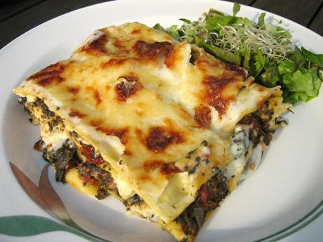 vegetarisk lasagne fetaost soltorkade tomater